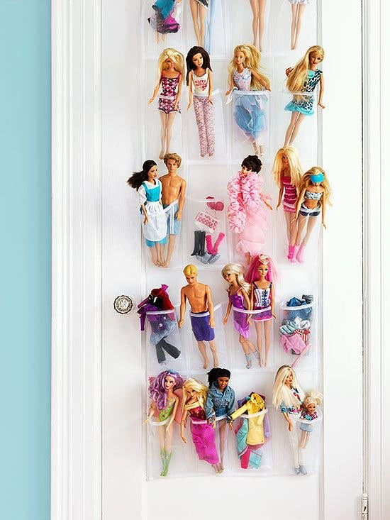 1. Hanging shoe organiser for dolls