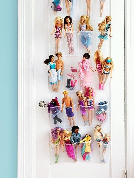 1. Hanging shoe organiser for dolls
