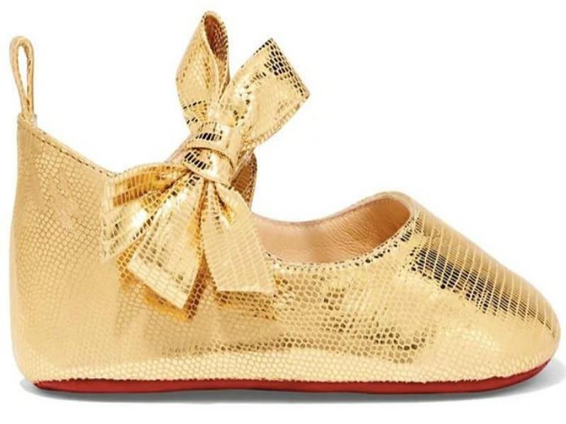 1. Louboutin Loubibaby gold shoes