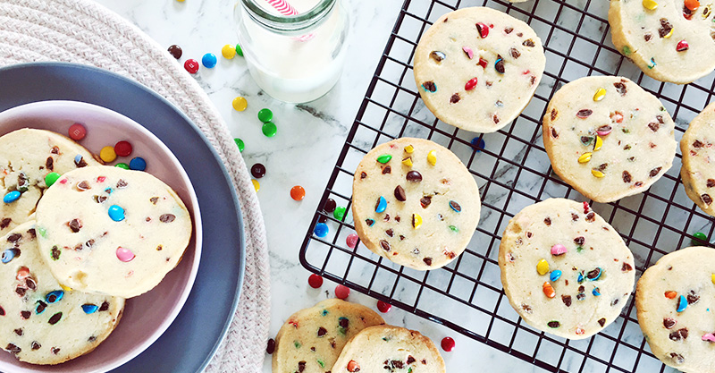 Slice-and-bake funfetti vanilla bean biscuits