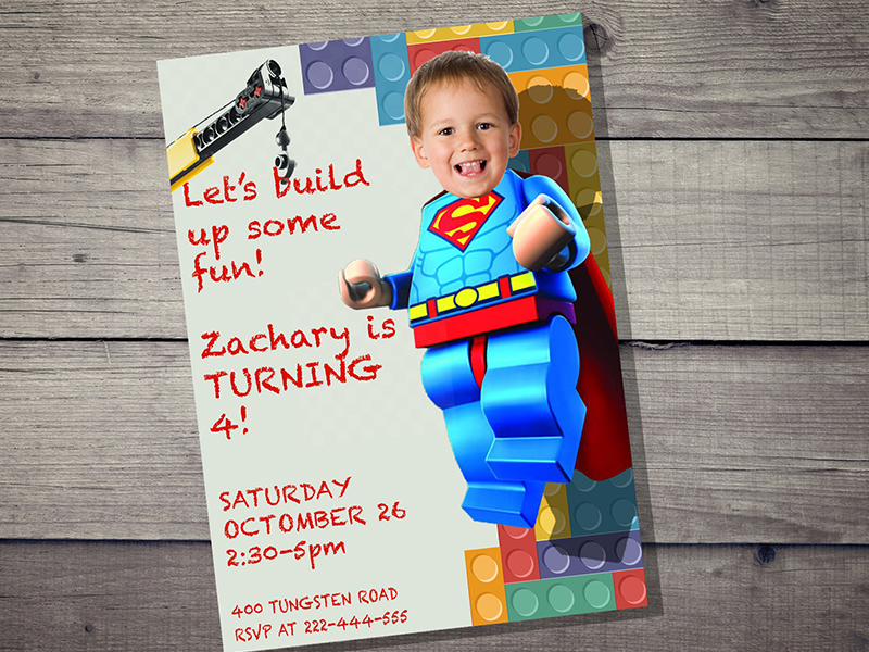 Lego-inspired party invitations