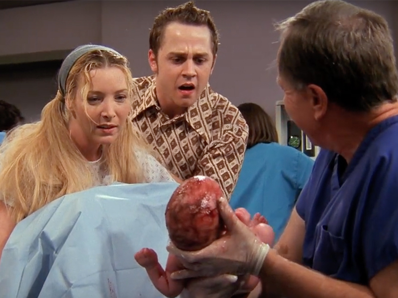 Phoebe's triplet birth in Friends
