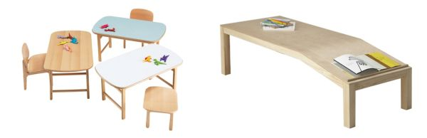 actus children's tables and chairs and the sloped reading table