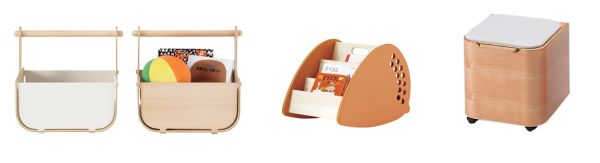 actus storage solutions - wooden baskets, acrorn bookshelf and veneer toybox/ stool