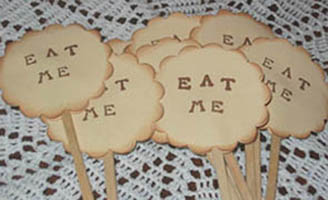 Kibbles, etsy, Eat Me, Alice in Wonderland, cupcake toppers