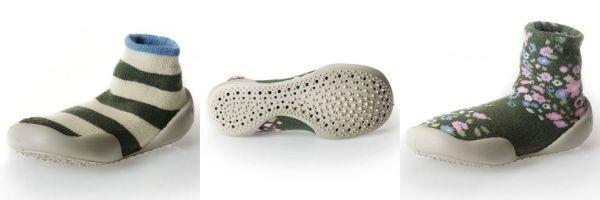 Collegien slipper socks - olive stripe, PVC sole, khaki floral