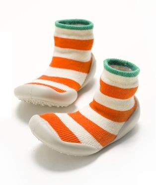 Collegien Slipper Socks, orange and ecru stripe