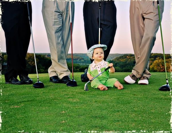 Fore Axel & Hudson - green romper and golf print hat