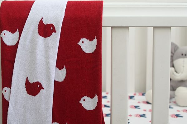 Jacob and Bonomi brushed cotton blanket - birdie design