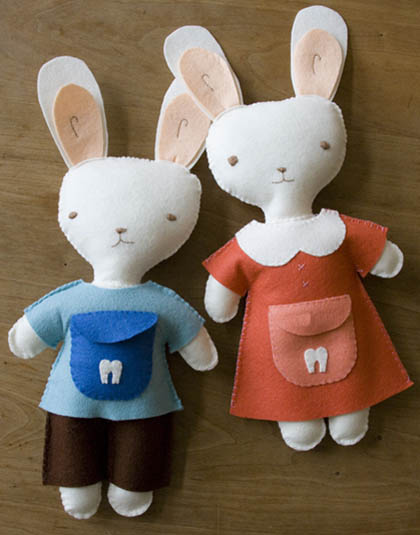 Kata Golda's Hand Stitched Felt tooth fairy bunny soft toys