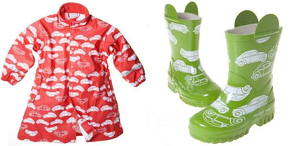 Polarn O. Pyret red coat with cars and green boots