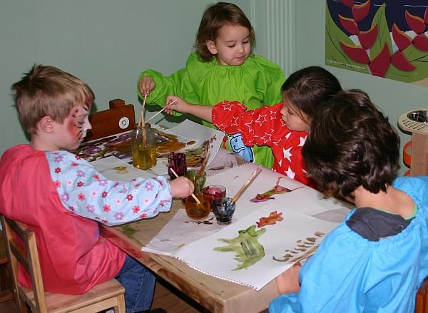 Children trialling Glob Natural Paints