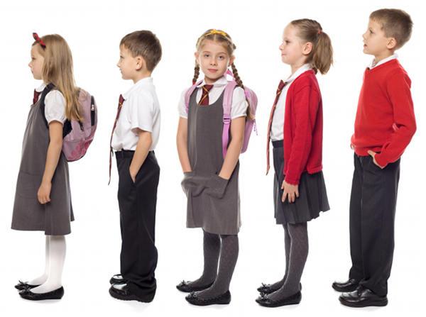 line of school children