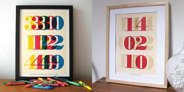 Ruka Ruka personalised date prints