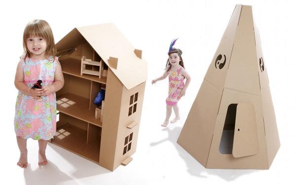 Домик для кукол из коробок для детей