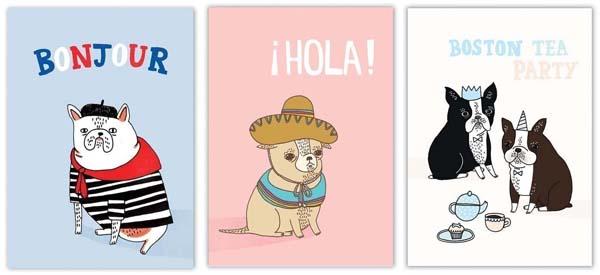 screen printed pug dog post cards