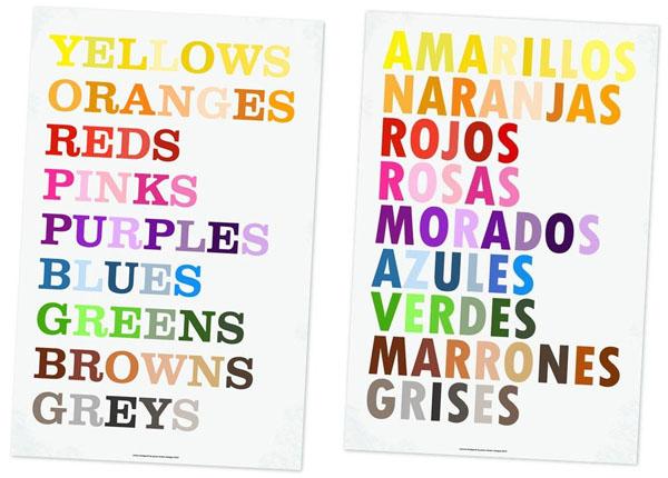 bilingual colour print