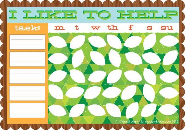 Draw Pilgrim Chore chart printable free