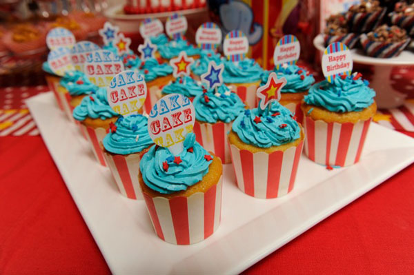 vintage circus birthday cupcake toppers