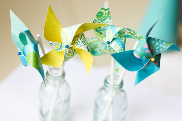 Anna Griffin Amy Butler mini paper pinwheels