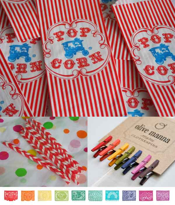 vintage popcorn bags, striped paper straws, carnival party, olive manna mini pegs, bunting, paper garlands