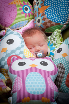 baby in owl cushions