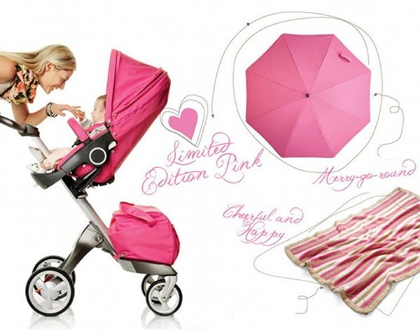 stokke limited edition pink xplory pram accessories