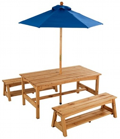 KidKraft Outdoor Table Benches with Blue Umbrella Kidkraft outdoor furniture 20 per cent off