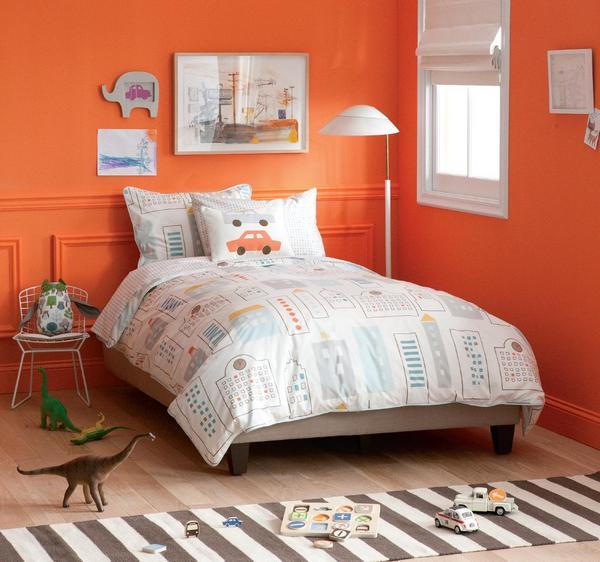boys bedrooms, car sheets, orange