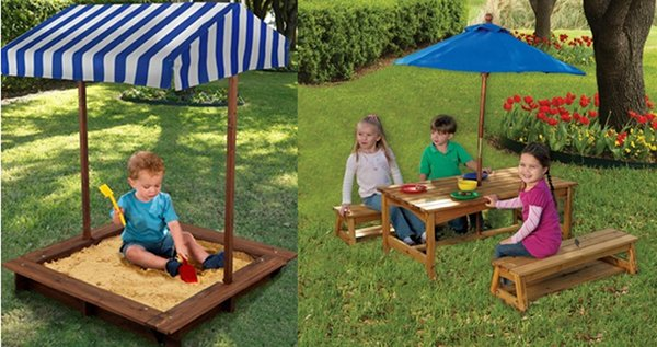 sandpit outdoor table and benches chairs