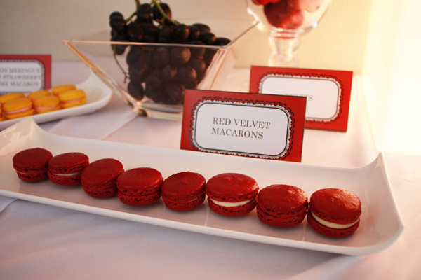 red coloured macaroons