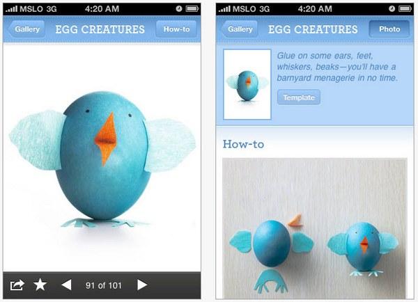 Egg dyeing Martha Stewart Easter iphone app