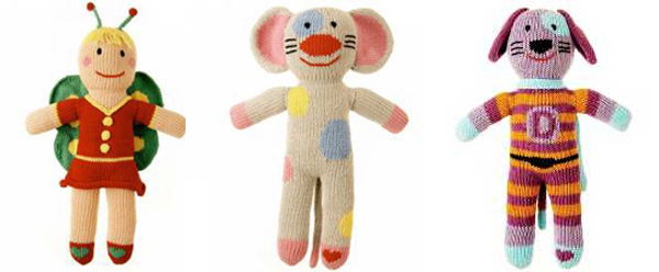 knitted dolls, knitted animals, granimals