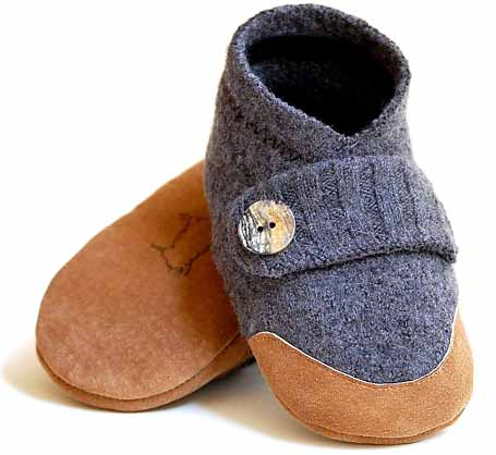 wool and leather slippers