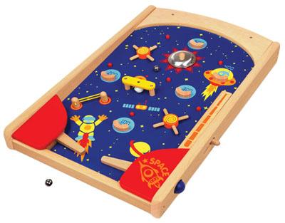 wooden pinball arcade game