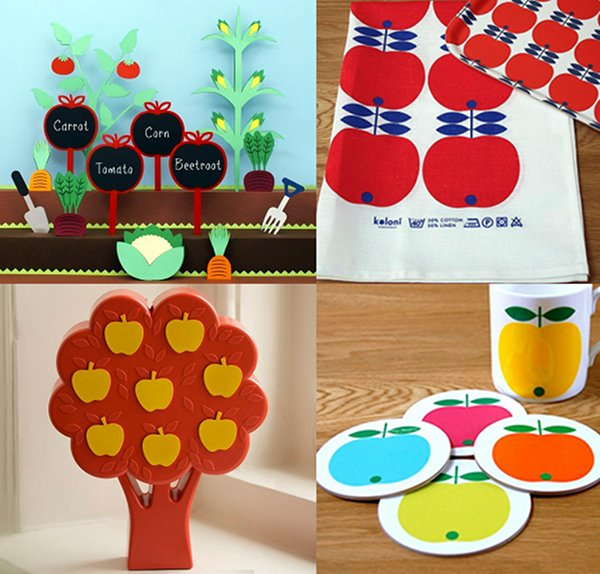 apple coaster garden stakes money box decor tea towel