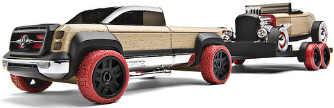 wooden car and trailer