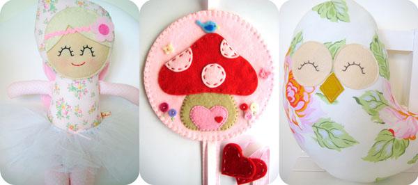 handmade felt dolls, felt hair clips, accessories