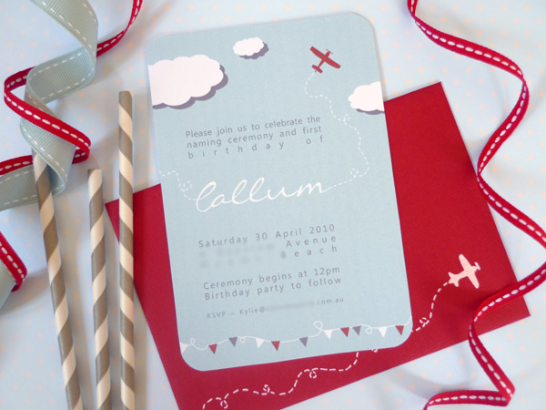 aeroplane airplane birthday invitation
