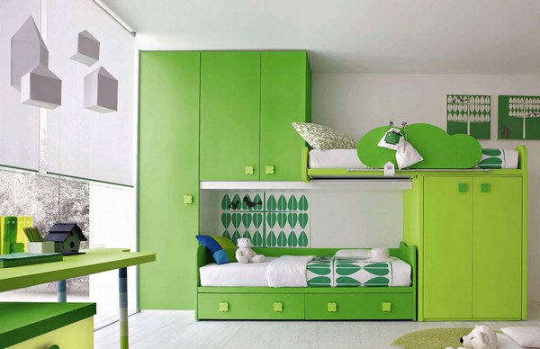 shared green bedrooms for boys and girls