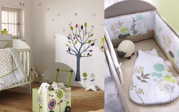 cot linen, cot bedding, tree wall deco