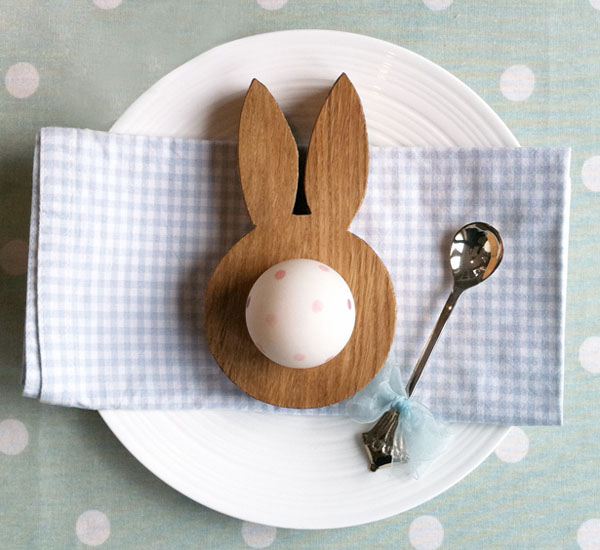 Easter, egg cup, oak, bunny