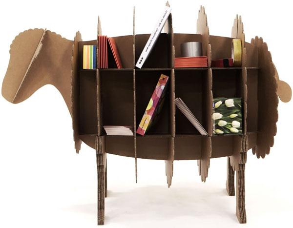 cardboard, bookcase, storage, furniture