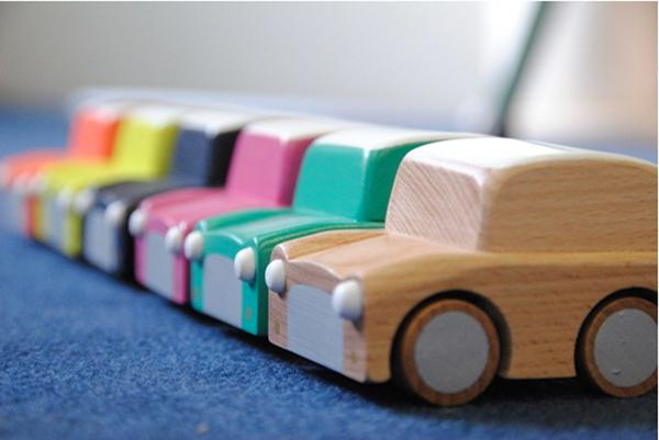 Wooden wind up car