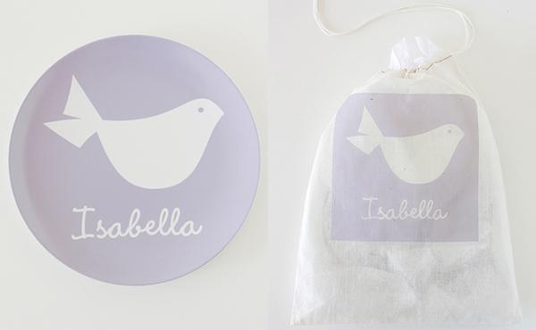 children's personalised melamine plate, custom gift bag
