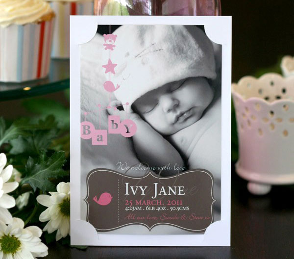 birth announcement, personalised