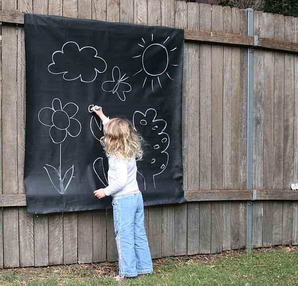 Chalkcloth portable blackboard