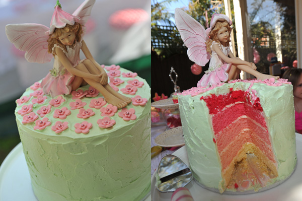 fairy birthday pink rainbow layer cake with buttercream icing