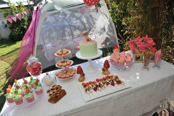 woodland fairy garden birthday sweets table