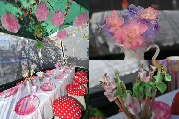 toadstool seats for fairy birthday, tissue paper pompoms
